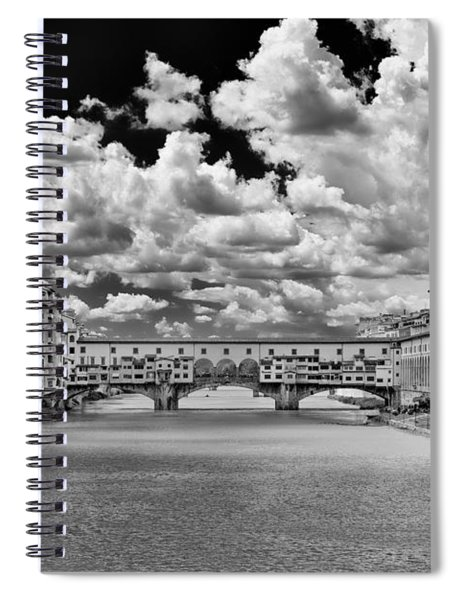 Spiral Notebook featuring the photograph Florence Old Bridge by Mirko Chessari