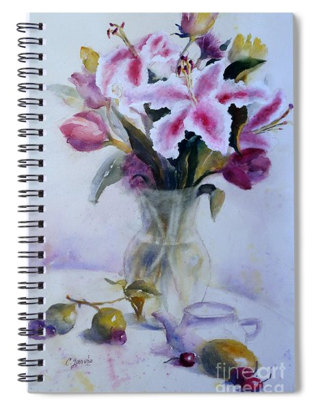 Flower Bouquet With Teapot And Fruit Spiral Notebook
