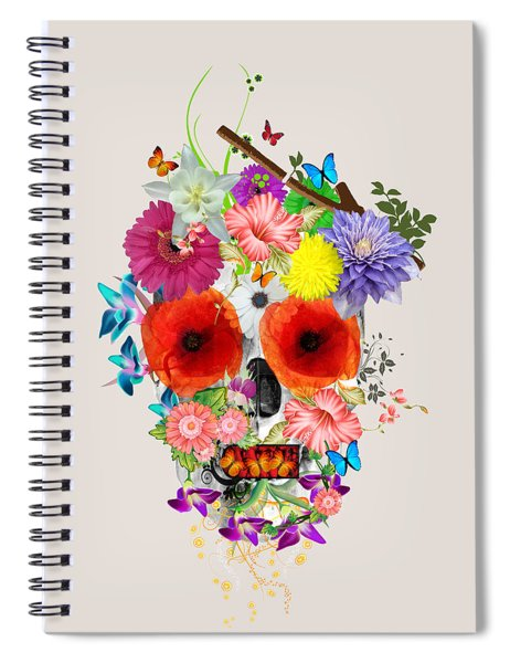 Flowers Scull  Spiral Notebook