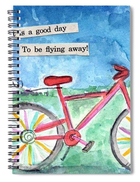 Flying Away- Bicycle And Balloon Painting Spiral Notebook