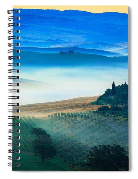 Fog In Tuscan Valley Spiral Notebook