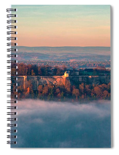 Fog Surrounding The Fortress Koenigstein Spiral Notebook
