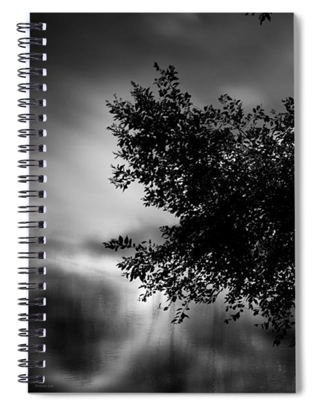 Foggy Autumn Morning On The River Spiral Notebook