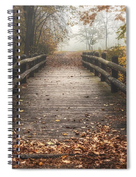 Foggy Lake Park Footbridge Spiral Notebook