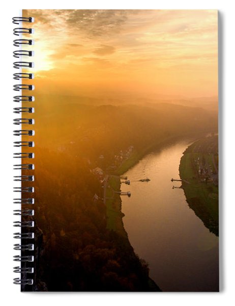Foggy Sunrise At The Elbe Spiral Notebook