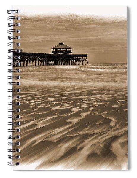 Folly Beach Pier Toned Spiral Notebook