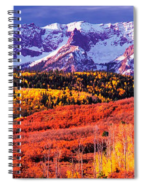 Forest In Autumn With Snow Covered Spiral Notebook