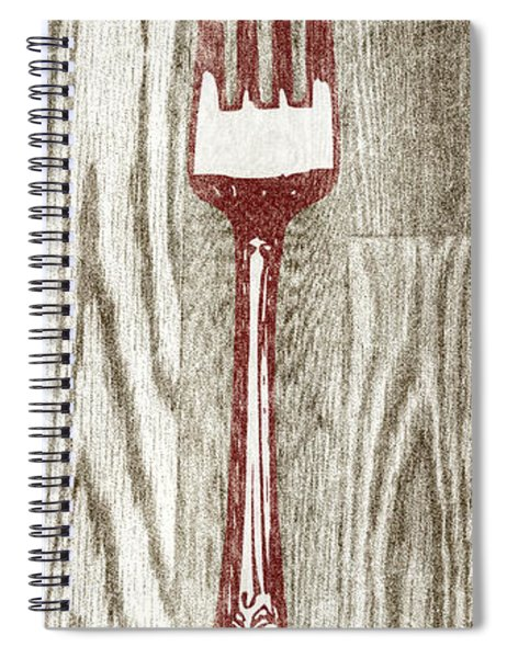 Fork And Spoon On Wood I Spiral Notebook