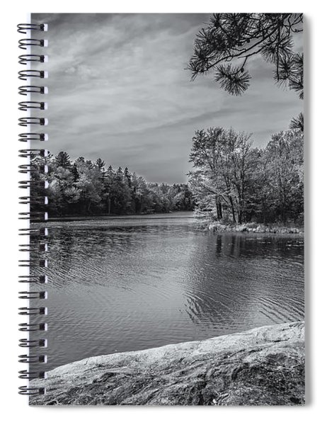 Fork In River Bw Spiral Notebook