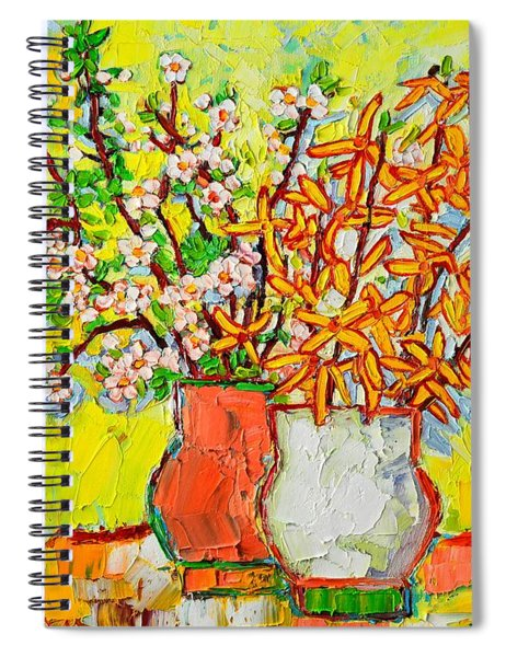 Forsythia And Cherry Blossoms Spring Flowers Spiral Notebook