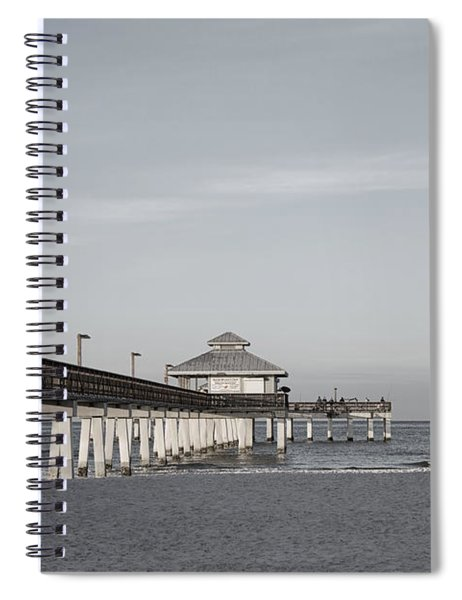 Fort Myers Beach Pier - Black And White Spiral Notebook