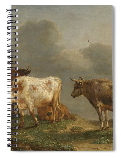 Four Cows In A Meadow Spiral Notebook