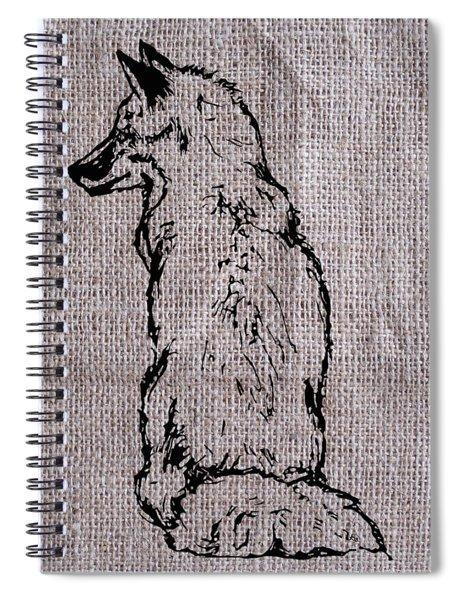 Fox On Burlap  Spiral Notebook
