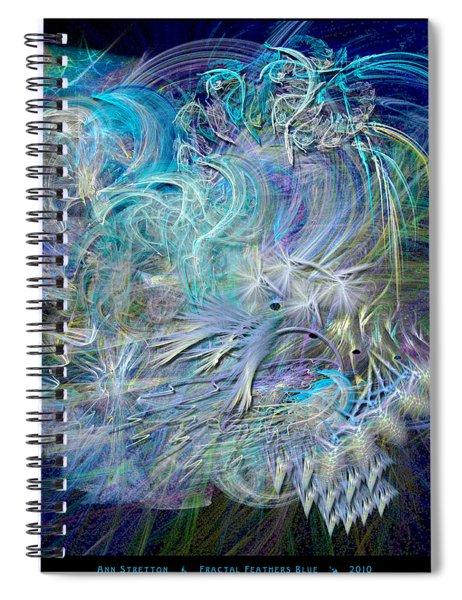 Fractal Feathers Blue Spiral Notebook
