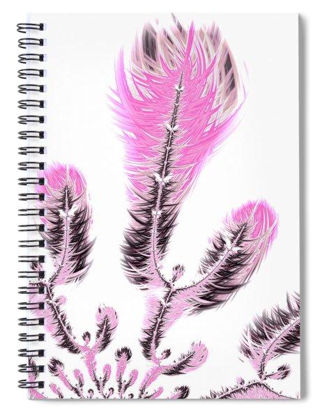 Fractal Flower Digital Artwork Light Pastel Pink Spiral Notebook