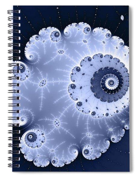 Fractal Spiral Light And Dark Blue Colors Spiral Notebook