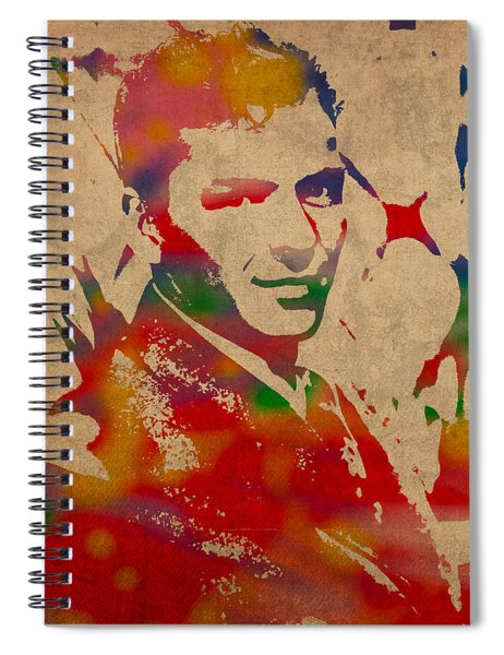 Frank Sinatra Watercolor Portrait On Worn Distressed Canvas Spiral Notebook by Design Turnpike