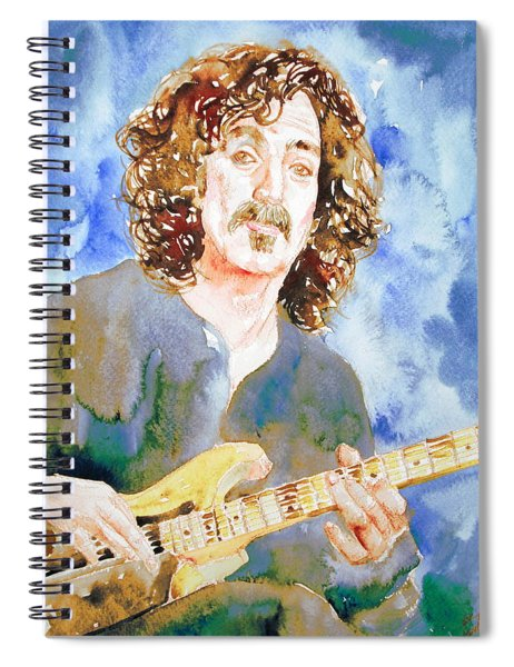 Frank Zappa Playing The Guitar Watercolor Portrait Spiral Notebook
