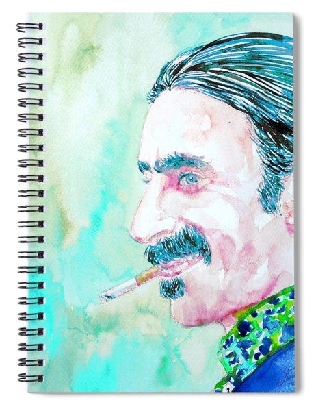 Frank Zappa Smoking A Cigarette Watercolor Portrait Spiral Notebook