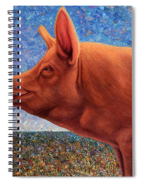 Spiral Notebook featuring the painting Free Range Pig by James W Johnson