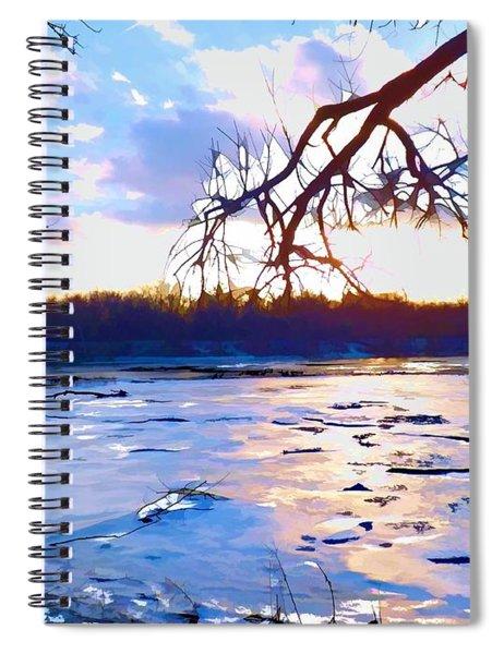 Frozen Delaware River Sunset Spiral Notebook