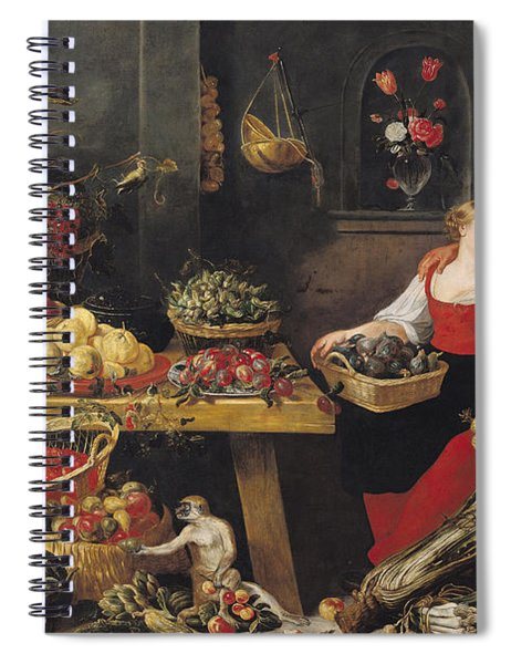 Fruit And Vegetable Market Oil On Canvas Spiral Notebook