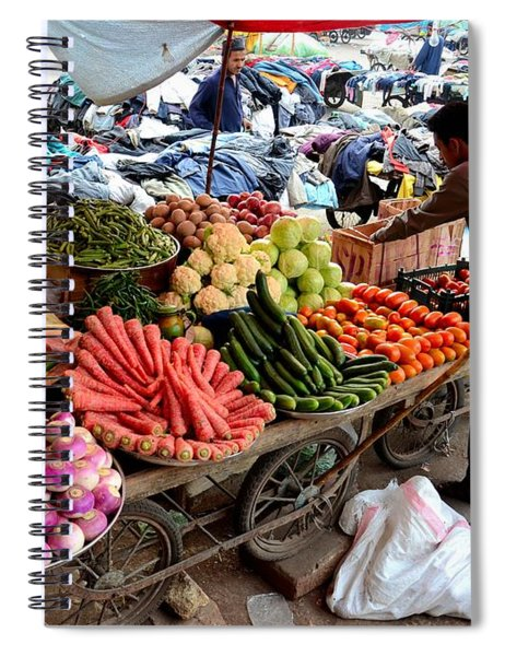 Fruit And Vegetable Seller Tends To His Cart Outside Empress Market Karachi Pakistan Spiral Notebook