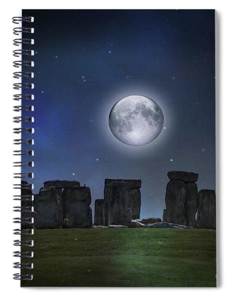 Full Moon Over Stonehenge Spiral Notebook