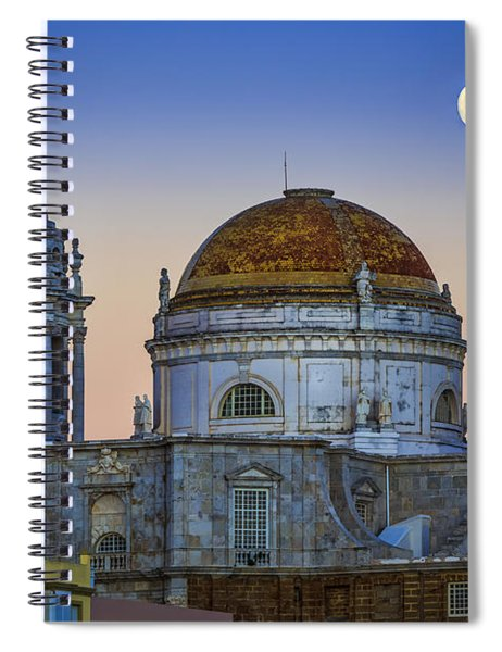 Full Moon Rising Over The Cathedral Cadiz Spain Spiral Notebook