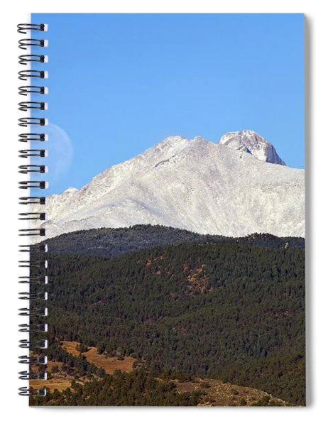 Full Moon Setting Over Snow Covered Twin Peaks  Spiral Notebook