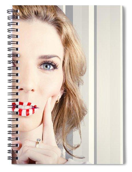 Funky Retro Summer Girl Wearing Striped Makeup Spiral Notebook