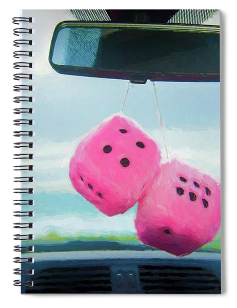 Furry Dice Hanging In A Car Spiral Notebook