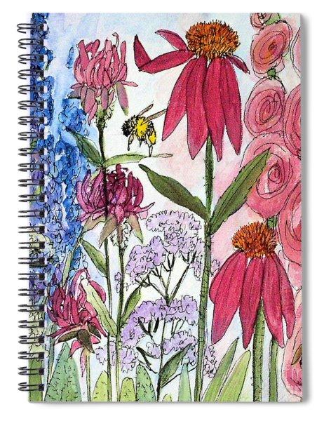 Garden Flower And Bees Spiral Notebook