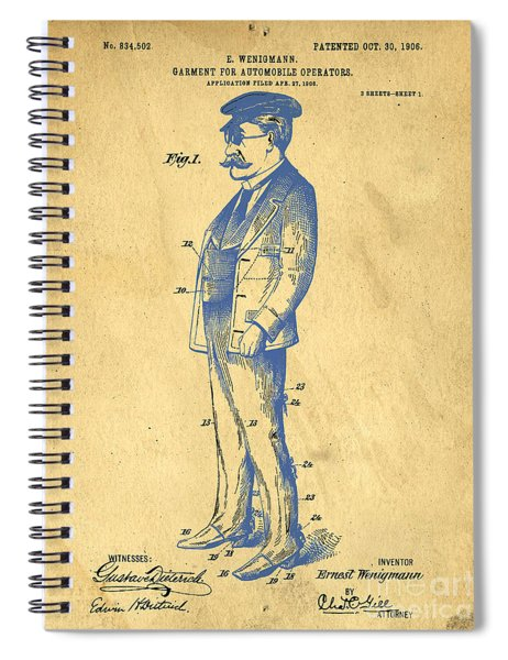 Garment For Automobile Operators Patent Spiral Notebook