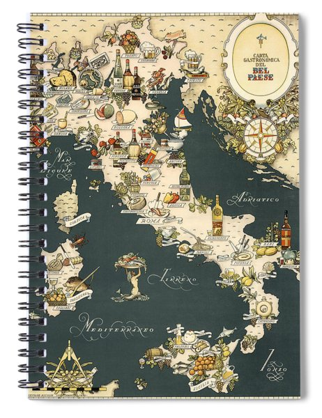 Gastronomic Map Of Italy 1949 Spiral Notebook
