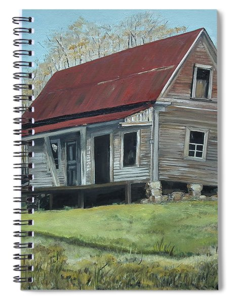 Spiral Notebook featuring the painting Gates Chapel - Ellijay Ga - Old Homestead by Jan Dappen