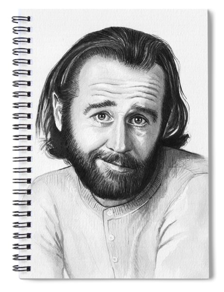 George Carlin Portrait Spiral Notebook by Olga Shvartsur