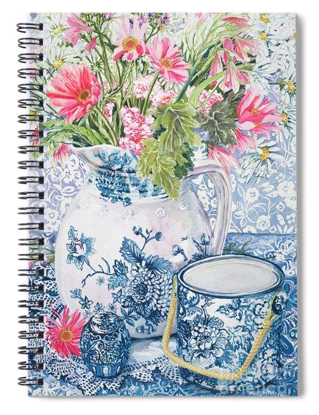 Gerberas In A Coalport Jug With Blue Pots Spiral Notebook