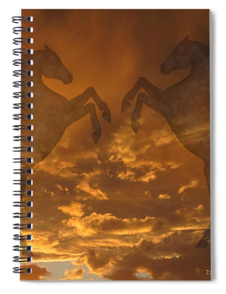 Ghost Horses At Sunset Spiral Notebook