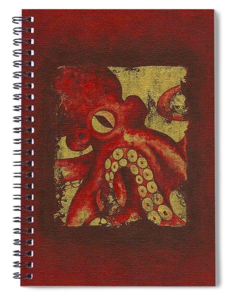 Giant Red Octopus Spiral Notebook