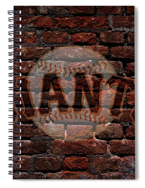 Spiral Notebook featuring the photograph Giants Baseball Graffiti On Brick  by Movie Poster Prints