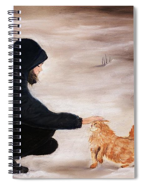 Girl And A Cat Spiral Notebook