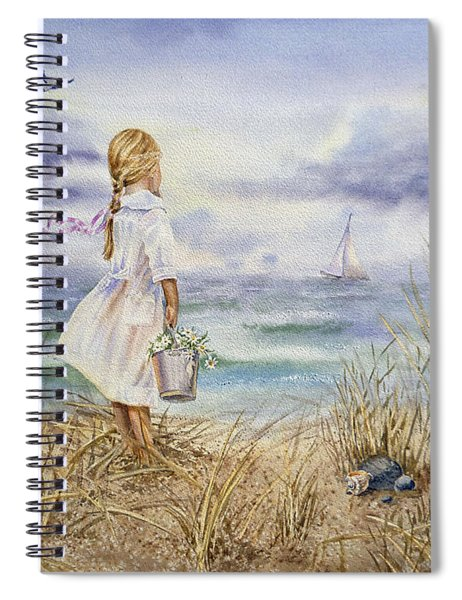 Girl At The Ocean Spiral Notebook