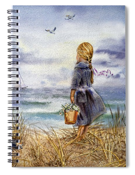 Girl And The Ocean Spiral Notebook