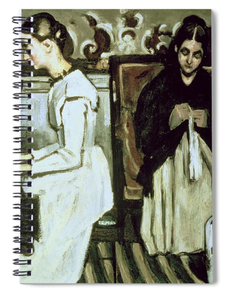 Girl At The Piano Overture To Tannhauser, 1868-69 Oil On Canvas Spiral Notebook