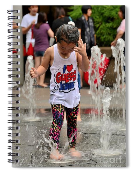 Girl Child Plays With Water At Fountain Singapore Spiral Notebook