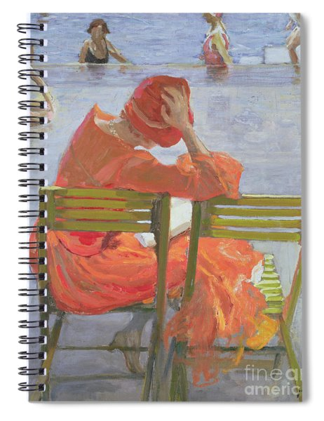 Girl In A Red Dress Reading By A Swimming Pool Spiral Notebook