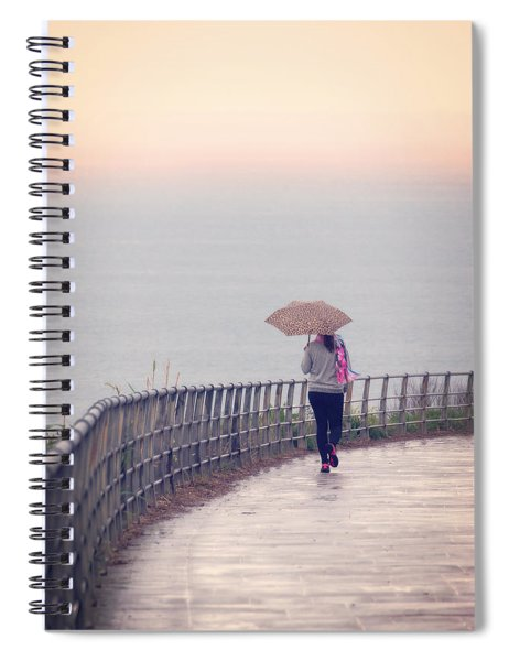 Girl Walking With Umbrella Spiral Notebook