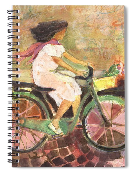 Girl With A Pink Scarf Spiral Notebook