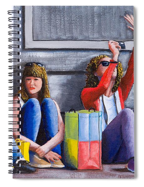 Girls Waiting For Ride Spiral Notebook